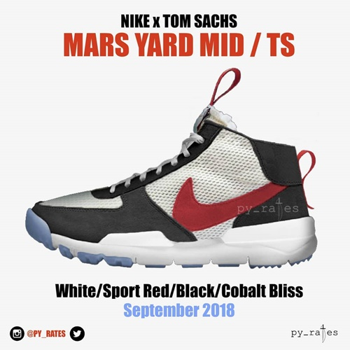 """【リーク】海外2018年9月発売!トム・サックス × ナイキラボ """"マーズ ヤード"""" 2018 ホワイト/スポーツ レッド/ブラック/コバルト ブリス (TOM SACHS NIKELAB """"MARS YARD"""" White/Sport Red/Black/Cobalt Bliss 2018)"""