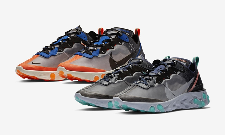 "【オフィシャルイメージ】NIKE REACT ELEMENT 87 ""Thunder Blue/Total Orange"" ""Neptune Green/Bright Mango"" (ナイキ リアクト エレメント 87) [AQ1090-004,005]"