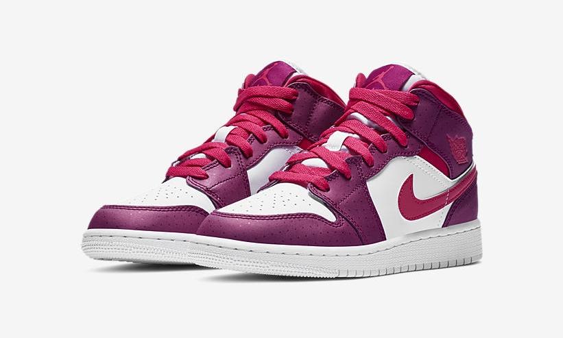 """【オフィシャルイメージ】12/20発売!ナイキ GS エア ジョーダン 1 ミッド """"トゥルーベリー/ラッシュピンク"""" (NIKE GS AIR JORDAN 1 MID """"True Berry/Rush Pink"""") [555112-661]"""