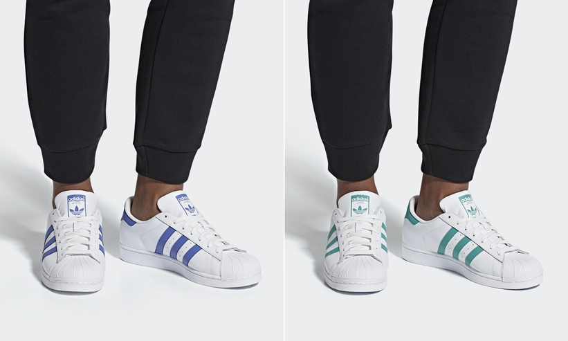 "adidas Originals SUPERSTAR ""White/Blue Violet/Green"" (アディダス オリジナルス スーパースター) [G27810,27811]"