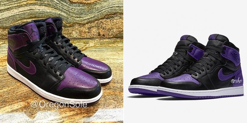 """【サンプル】2020年発売予定!ナイキ エア ジョーダン 1 レトロ ハイ """"ブラック/パープル"""" (NIKE AIR JORDAN 1 RETRO HIGH """"Black/Purple"""")"""