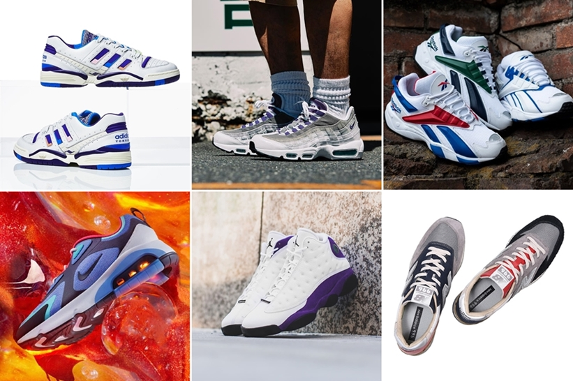 """【まとめ】7/19 発売の厳選スニーカー!(NIKE AIR MAX 95 LV8 """"White/Court Purple/Emerald Green"""")(AIR JORDAN 13 """"Lakers Rivals"""")(REEBOK INTERVAL)(adidas Consortium TORSION EDBERG COMP)"""