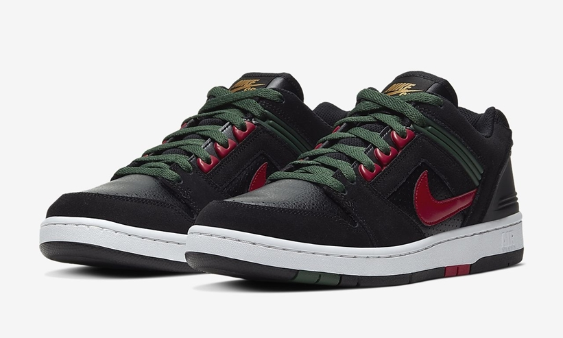 "NIKE SB AIR FORCE II LOW ""Black/Deep Forest/Gym Red"" (ナイキ SB エア フォース 2 ロー ""ブラック/ディープフォレスト/ジムレッド"") [AO0300-002]"