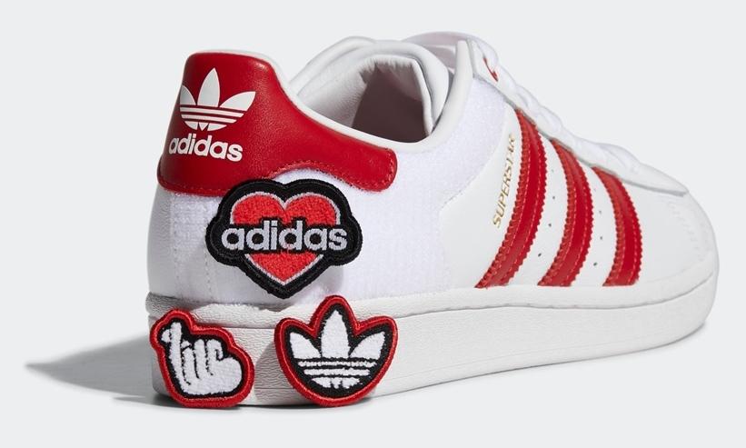 """【8/6発売】ハートで楽しむカスタマイズ!アディダス オリジナルス スーパースター """"ホワイト/スカーレット"""" (adidas Originals SUPERSTAR """"White/Scarlet"""") [FY3117]"""