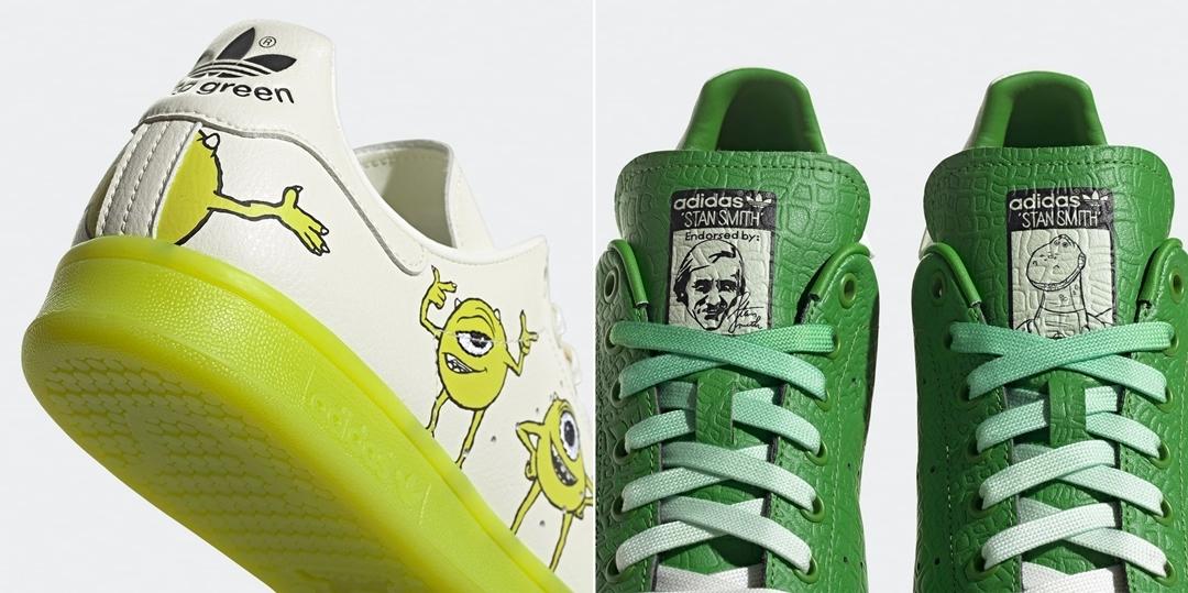"""ピクサーの2大グリーンカラーキャラを採用した「キャラクターパック」からマイク・ワゾウスキ/レックス x アディダス オリジナルス スタンスミス (adidas Originals STAN SMITH """"Mike Wazowski/Rex"""") [FZ2705,FZ2706]が登場!"""