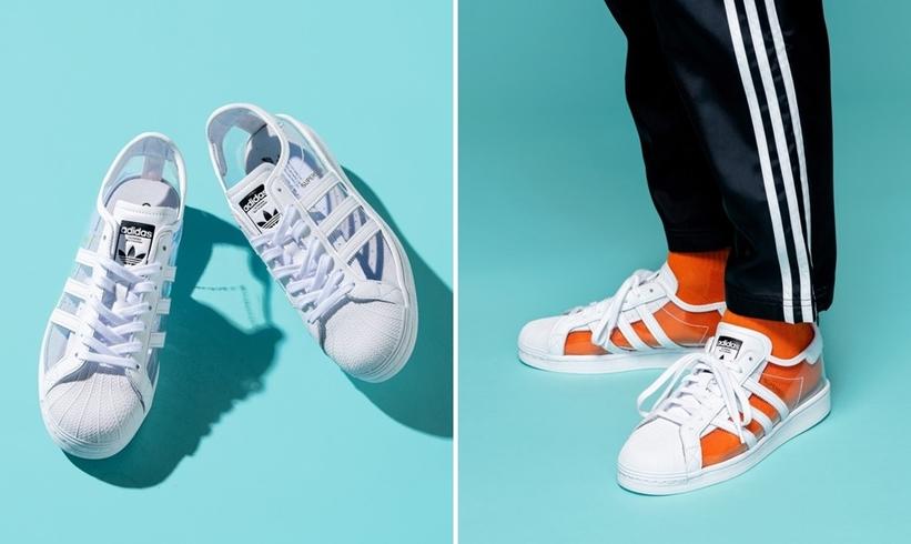"""【ZOZO 限定】中に履いたソックスを引き立てる、透明なスーパースター!adidas Originals SUPERSTAR """"White/Grey"""" (アディダス オリジナルス スーパースター """"ホワイト/グレー"""") [FZ0245]"""