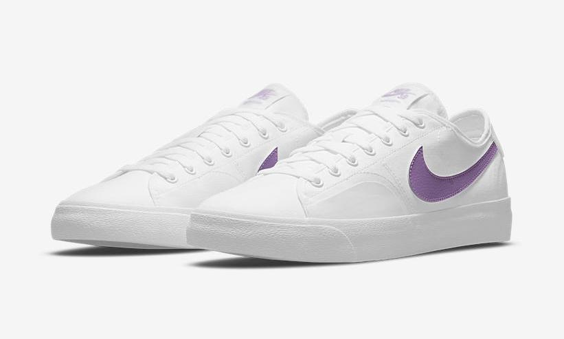 """ナイキ SB ブレーザー コート """"ホワイト/パープル"""" (NIKE SB BLAZER COURT """"White/Purple"""") [CV1658-105]"""