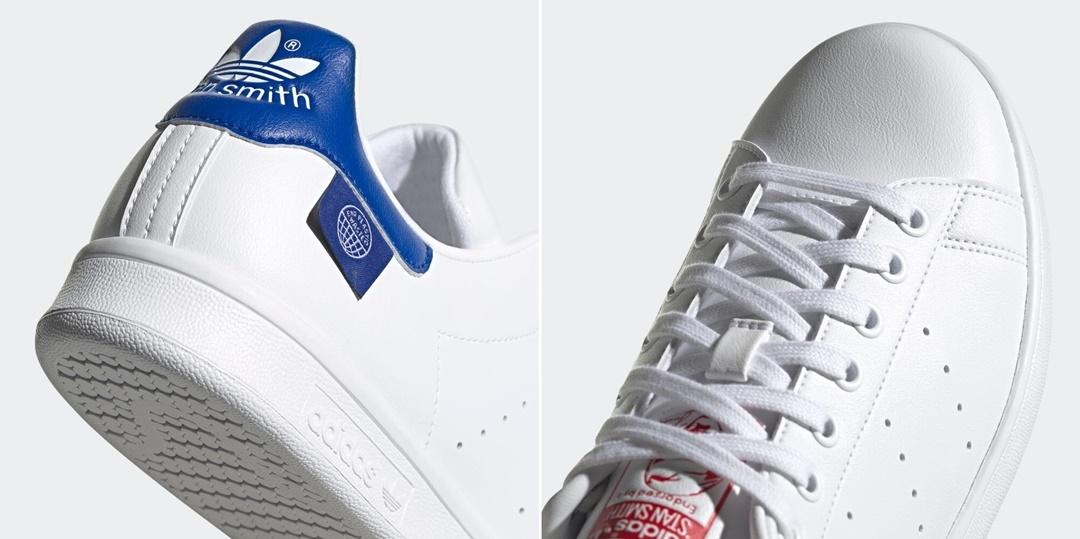 """4/15 発売!リサイクル素材とフィッシングネットからヒントを得た刺しゅうをあしらった アディダス オリジナルス スタンスミス 2カラー (adidas Originals STAN SMITH """"White/Team Royal Blue/Scarlet"""") [FZ2703,FZ2704]"""